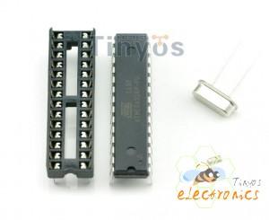 ATMEGA328带BOOTLOADER + DIP Socket插槽 + 16MHz 晶振 套装
